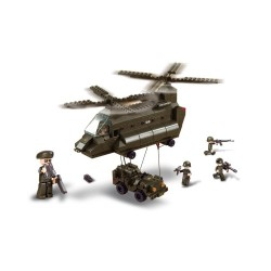 Sluban Army Aerotransport Helicopter and Jeep Military Bricks B6600
