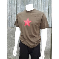 Red Star Printed Olive Green Cotton T-Shirt