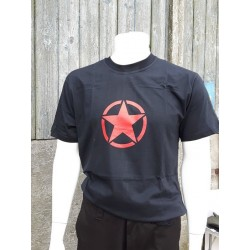 Red Star Printed Black  Cotton T-Shirt