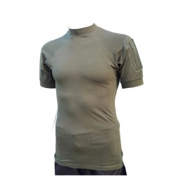 Highlander Combat Tactical T-Shirt Stretch Cotton Pockets on Sleeve Olive Green