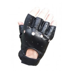 Highlander Leather Lightweight Fingerless Gloves Mitts Black