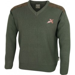 Jack Pyke Shooters Pullover Olive Green Embroidered Pheasant Knitted Washable