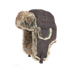 Jack Pyke BrownTweed Winter Trapper Hat Faux Fur Unisex Wool Blend