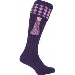 Jack Pyke Harlequin Shooting Socks Purple/Mauve with Garters Wool Mix