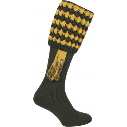 Jack Pyke Pebble Shooting Socks Green/Gold with Garters Wool Mix