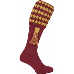 Jack Pyke Pebble Shooting Socks Burgundy/Gold  with Garters Wool Mix