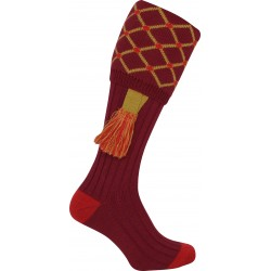 Jack Pyke Diamond Shooting Socks Burgundy/Gold with Garters Wool Mix