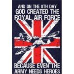 """""""GOD CREATED THE ROYAL AIR FORCE"""" PRINTED NAVY 100% COTTON T-SHIRT MILITARY"""