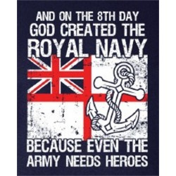 """GOD CREATED THE ROYAL NAVY"" PRINTED NAVY 100% COTTON T-SHIRT MILITARY"
