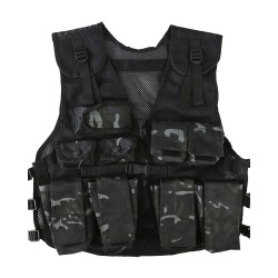 Kids Camouflage Assault Vest Childrens Action play Vest BTP Black Army Forces