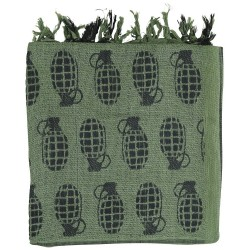 Grenade Print Black Green Shemagh Scarf