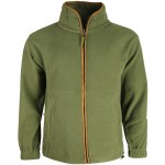 K MENS  COUNTRY OUTDOOR THERMAL Fleece JACKET LEATHERETTE PIPING FULL ZIP GREEN