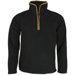 K MENS  COUNTRY OUTDOOR THERMAL Fleece TOP Pullover Jumper HALF Zip Neck Black