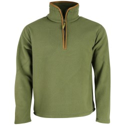 K MENS  COUNTRY OUTDOOR THERMAL Fleece TOP Pullover Jumper HALF Zip Neck Green