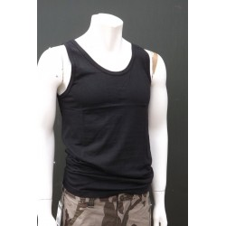 Mil-Tec by Sturm Plain Black Vest Cotton Gym Tank Top Training Sleeveless New