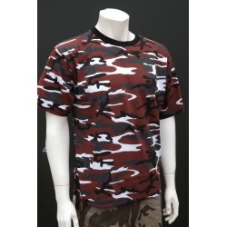 Mil-Tec Sturm Red/Black Urban Camouflage T-Shirt 100% Cotton Mens Short Sleeve