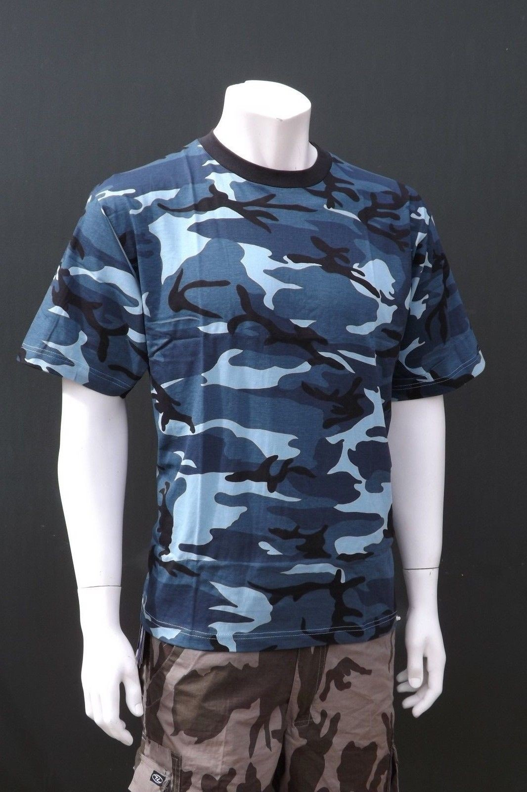 98564f2a Mil-Tec by Sturm Midnight Blue Camouflage T-Shirt 100% Cotton Mens Short  Sleeve