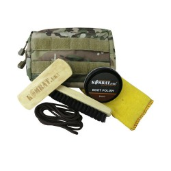 KT Deluxe MOLLE Boot Cleaning Care Kit Shoe Polish Pouch Military Brown Black
