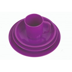 Highlander Plastic Camping Cup Mug Plate Bowl Cereal Tough Lightweight Purple