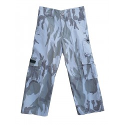 Highlander Kids Camo Trousers Combats Grey Urban Faded Style Stonewashed Army