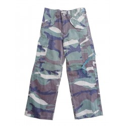Highlander Kids Camo Trousers Combats Woodland Faded Style Stonewashed Army