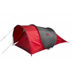 Highlander Heather 3 Person Pop-Up Tent Festival Weekend 3 Man Quick Pitch Red
