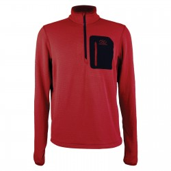 Highlander Jura Fleece Pullover Mid Layer Slim fit Top Lightweight Zip Neck Red