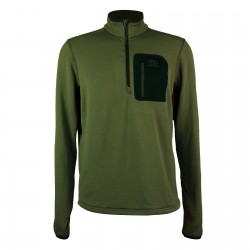 Highlander Jura Fleece Pullover Mid Layer Slim fit Top Lightweight Zip Neck Olive