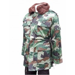 New Surplus Serbian Camouflage Winter Parka Fur Collar Lined Warm Thick Camo